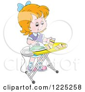 Clipart Of A Red Haired Girl Ironing Socks Royalty Free Vector Illustration by Alex Bannykh