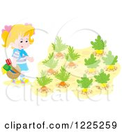 Clipart Of A Blond Caucasian Girl With Gardent Ools And Vegetables Royalty Free Vector Illustration
