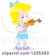 Clipart Of A Blond Caucasian Girl Playing A Violin Royalty Free Vector Illustration by Alex Bannykh