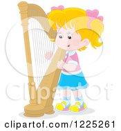 Blond Caucasian Girl Playing A Harp