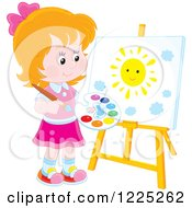 Happy Blond Boy Painting A Sun On An Art Easel