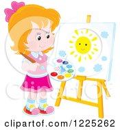 Happy Blond Boy Painting A Sun On An Art Easel