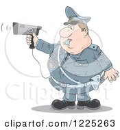 Clipart Of A Chubby Police Offer Blowing A Whistle And Holding A Radar Gun Royalty Free Vector Illustration by Alex Bannykh