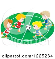 Clipart Of Boys And Girls Playing Soccer Royalty Free Vector Illustration by Alex Bannykh