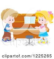 Clipart Of A Boy And Girl Talking At A Piano Royalty Free Vector Illustration by Alex Bannykh