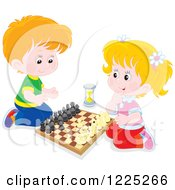 Clipart Of A Caucasian Boy And Girl Playing Chess Royalty Free Vector Illustration