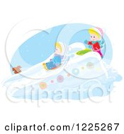 Clipart Of A Puppy Watching A Winter Boy And Girl Going Down A Snow Slide Royalty Free Vector Illustration
