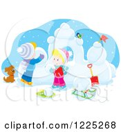 Clipart Of A Winter Boy And Girl Building A Fortress With Snow Royalty Free Vector Illustration by Alex Bannykh