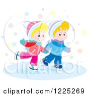 Clipart Of A Winter Boy And Girl Ice Skating Royalty Free Vector Illustration by Alex Bannykh