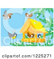 Clipart Of Winter Birds Eating Seed From A Suspended House Royalty Free Vector Illustration