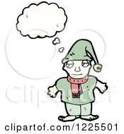 Clipart Of A Thinking Grumpy Elf Royalty Free Vector Illustration