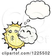 Clipart Of A Thinking Sun Being Kissed By A Cloud Royalty Free Vector Illustration by lineartestpilot
