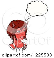 Clipart Of A Thinking Devil Girl Royalty Free Vector Illustration