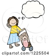 Clipart Of A Thinking Girl Pushing A Baby Stroller Royalty Free Vector Illustration by lineartestpilot