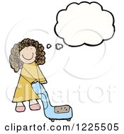 Clipart Of A Thinking Girl Pushing A Chair Royalty Free Vector Illustration by lineartestpilot