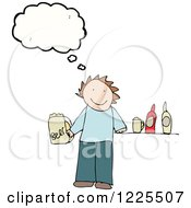 Clipart Of A Thinking Man With Beer Royalty Free Vector Illustration by lineartestpilot
