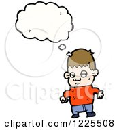Clipart Of A Thinking Boy Royalty Free Vector Illustration