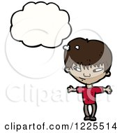 Clipart Of A Thinking Hispanic Boy Royalty Free Vector Illustration by lineartestpilot