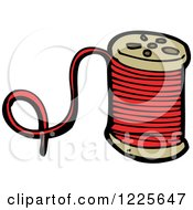 Clipart Of A Spool Of Red Thread Royalty Free Vector Illustration