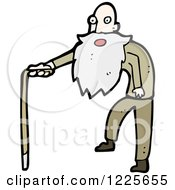Clipart Of A Surprised Old Man Using A Cane Royalty Free Vector Illustration