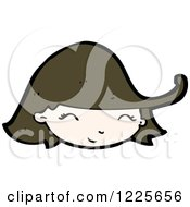 Clipart Of A Smiling Brunette Girl Royalty Free Vector Illustration by lineartestpilot