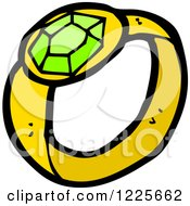 Clipart Of A Gold Ring With A Green Stone Royalty Free Vector Illustration by lineartestpilot