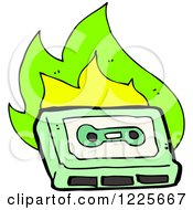 Green Cassette Tape With Flames