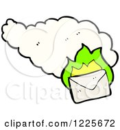 Clipart Of An Envelope With Green Flames And A Cloud Royalty Free Vector Illustration by lineartestpilot
