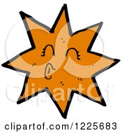 Clipart Of A Puckered Orange Star Royalty Free Vector Illustration by lineartestpilot