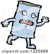 Clipart Of A Waving Blue Can Royalty Free Vector Illustration