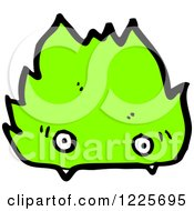 Clipart Of A Green Flame Character Royalty Free Vector Illustration