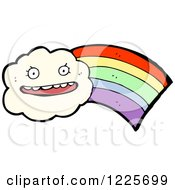 Clipart Of A Happy Cloud With A Rainbow Royalty Free Vector Illustration by lineartestpilot
