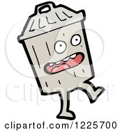 Clipart Of A Walking Trash Can Royalty Free Vector Illustration