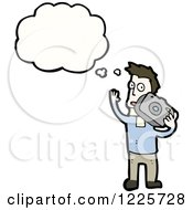 Clipart Of A Thinking Caucasian Man Taking Pictures Royalty Free Vector Illustration