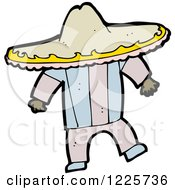 Clipart Of A Hispanic Man In A Sombrero Hat Royalty Free Vector Illustration by lineartestpilot