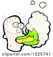 Clipart Of A Bald Man Breathing Fire Royalty Free Vector Illustration by lineartestpilot