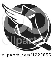 Clipart Of A Black And White Winged Track And Field Shoe Over A Circle Royalty Free Vector Illustration