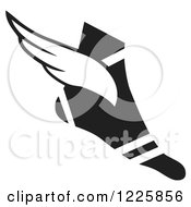 Clipart Of A Black And White Winged Track And Field Shoe Royalty Free Vector Illustration