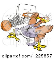 Clipart Of A Slam Dunk Turkey Tournament With A Bird Hanging From A Hoop Royalty Free Vector Illustration