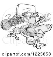 Clipart Of A Grayscale Slam Dunk Turkey Tournament With A Bird Hanging From A Hoop Royalty Free Vector Illustration