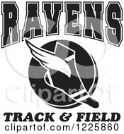Clipart Of A Black And White Winged Shoe With Ravens Team Track And Field Text Royalty Free Vector Illustration