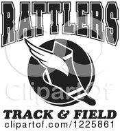 Clipart Of A Black And White Winged Shoe With Rattlers Team Track And Field Text Royalty Free Vector Illustration