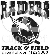 Clipart Of A Black And White Winged Shoe With Raiders Team Track And Field Text Royalty Free Vector Illustration