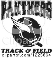 Clipart Of A Black And White Winged Shoe With Panthers Team Track And Field Text Royalty Free Vector Illustration