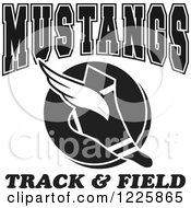 Clipart Of A Black And White Winged Shoe With Mustangs Team Track And Field Text Royalty Free Vector Illustration