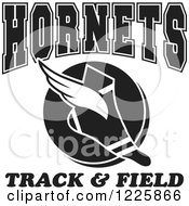 Clipart Of A Black And White Winged Shoe With Hornets Team Track And Field Text Royalty Free Vector Illustration