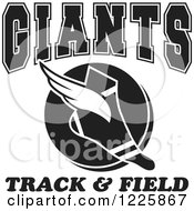 Clipart Of A Black And White Winged Shoe With Giants Team Track And Field Text Royalty Free Vector Illustration