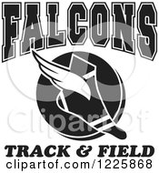 Clipart Of A Black And White Winged Shoe With Falcons Team Track And Field Text Royalty Free Vector Illustration