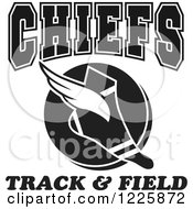 Clipart Of A Black And White Winged Shoe With Chiefs Team Track And Field Text Royalty Free Vector Illustration