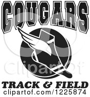 Clipart Of A Black And White Winged Shoe With Cougars Team Track And Field Text Royalty Free Vector Illustration